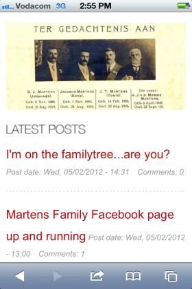 Website viewed on an iPhone